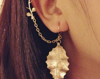 Matte gold leaves earrings with detachable branch leaves ear cuffs, leaf earring, leaf ear cuff, flower ear cuff