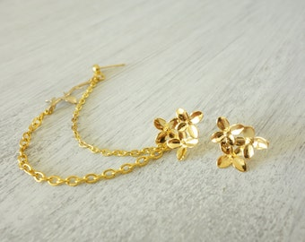 Gold daisy bouqet branch leaves studs with double chain cartilage piercing, ear stud, double piercing, clip on