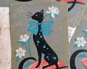 Adorable Mod Black Cat Playing Cards Trade Cards Tags Kitten Kitty