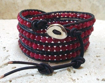 Deep Red Brazil Ruby* 4mm Round Faceted Beaded Leather 4-Wrap Bracelet