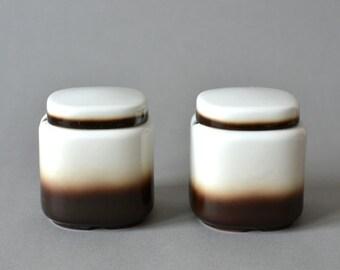 Vintage West German pottery jar marmalade Seltmann Weiden Bavaria set dish ceramic breakfast