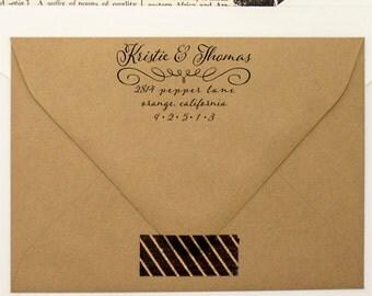 Elegant Return Address Stamp - Modish Cursive Pen Self Inking Address Stamper - Weddings