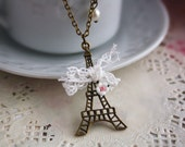 Paris Eiffel Tower necklace french vintage bronze charm jewellery lace bow rose flower pendant antique retro cute romantic accessory