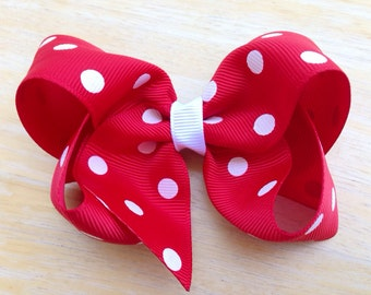 Red polka dot hair bow - 4 inch red polka dot boutique bow
