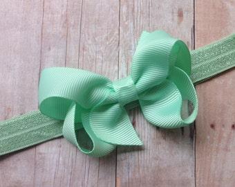 Pastel green baby headband  - light green bow headband, baby headband, newborn headband, baby bow headband, baby girl