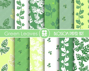 Green Digital Paper Digital Paper Pack, Green leaves Digital Paper Pack, digital backgrounds, Leaves Scrapbook Papers -1689