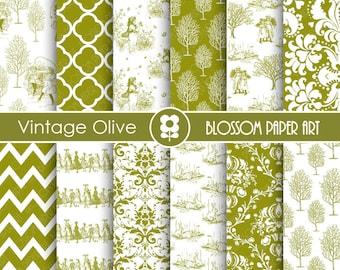 Vintage Digital Paper Olive Digital Paper, Vintage Paper, Scrapbooking Paper, Vintage Papers - Invitations - Paper Crafts - 1751