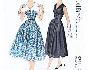 Hard-to-Find 1958 Darted-fitted Drop Waist Dress, Sleeveless, Wide Collar or V-Neckline, Button Front, Rockabilly, McCall's 9744, Bust 34""