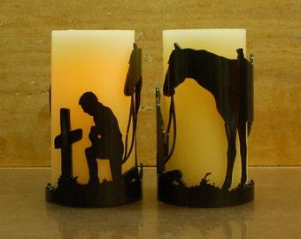 Praying Cowboy -1136- Metal Candle Holder Luminary