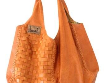 Oversized leather shoulder bags