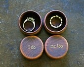 Ring bearer box set. Tiny round wedding ring boxes, ring warming. Pair of pine ring boxes with I Do, Me Too design in gold.