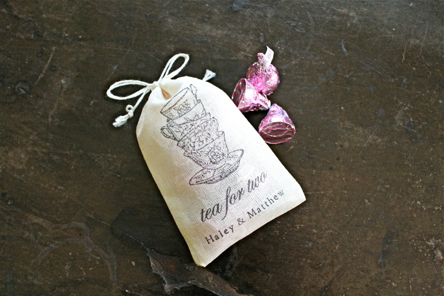 Personalized wedding favor bags 3x4.5. Set of 50 double