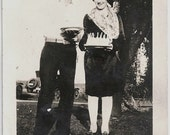 Old Photo Couple Woman holding Birthday Cake 1920s Photograph vintage