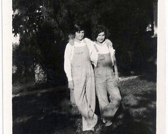 Old Photo 2 Women Arm N Arm wearing Overalls  Shadow 1920s Photograph snapshot vintage