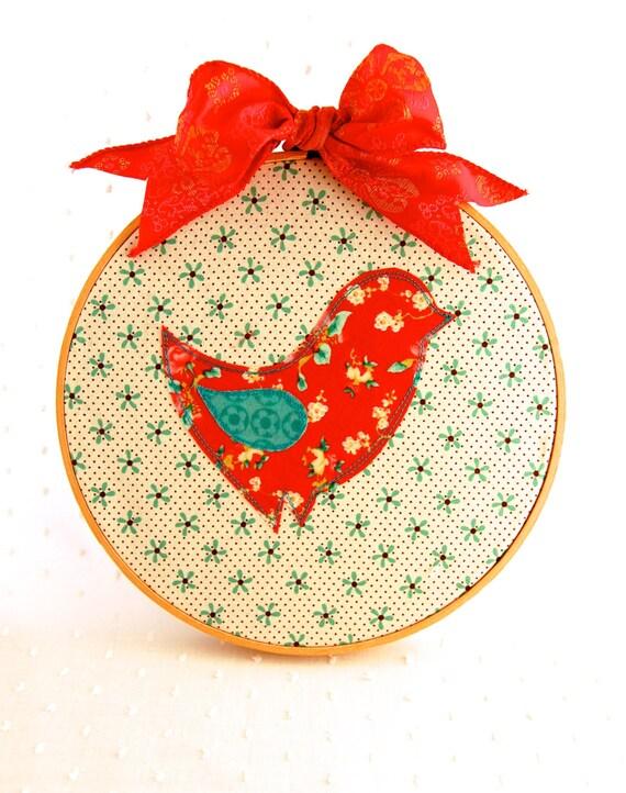 Items similar to embroidery hoop art bird nursery decor