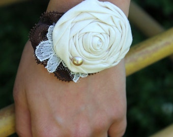 Rustic Wrist Corsage // Country Lace Flower Wrist Corsage // Custom Made