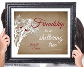 Friendship is a Sheltering Tree, Friendship Tree with Birds, PERSONALIZED Friendship Gift, Wedding Party Gift, Best Friend Gift, 8x10