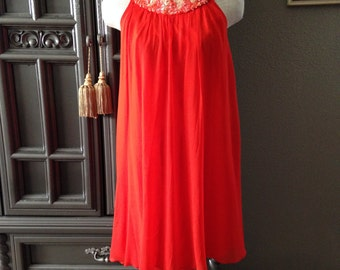 60s Sequin Neckline Red Silk Chiffon Party Dress with Drape Back