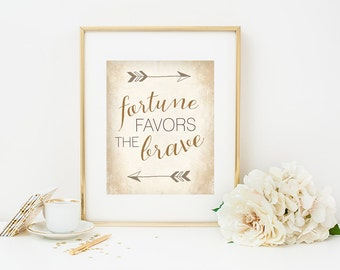 Fortune Favors the Brave Inspirational Quote Art, Boho Rustic Wall Art, Arrows, Art Print, Golden Autumn, Dorm Decor, Office Decor