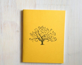 Medium Notebook: Journal, Jotter, Tree, Gold, Yellow, Fall, Autumn, Thanksgiving, Stocking Stuffer, Gift, Unique, For Her, For Him, B85