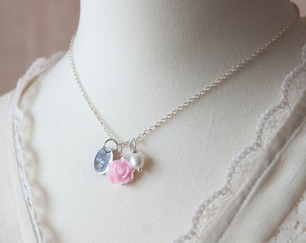 Personalized Flower Girl Gift Pearl Necklace Silver with Pink Flower