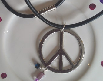 Pretty Peace Necklace, Beaded Peace Necklace, Peace Necklace, Leather Cord Necklace, pink and blue beads