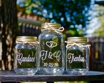 3 Jar Sand Ceremony Set, Unity Jars, Wedding Mason Jars, Personalized Jars