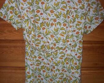 FEELIN' GROOVY DRESS 1970s Floral Yellow Green Orange Caroline Retro Party Costume