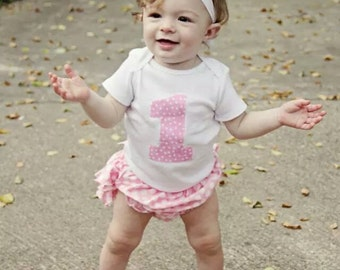 Baby Girl First Birthday Outfit, Onepiece Bodysuit, Bloomers and Headband Set, pink, Polka Dots, Ruffles, Photo Prop, First Birthday Set