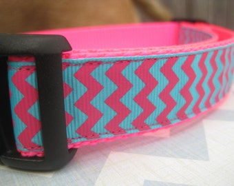 "Pink & Blue Chevron Collar. 1"" wide, available in M, L, XL"