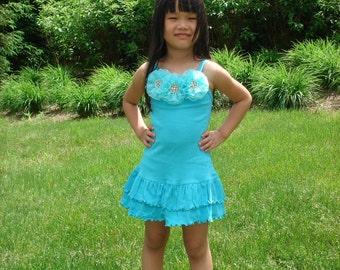Girls Dress Toddler Spaghetti Sleeveless Summer Dress with Chiffon Flowers