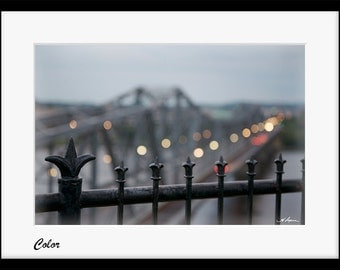 "Alexandra Bridge to Gatineau ""Ottawa Photography"" Bokeh PRINT Fine home wall decor Lights Black and white picture artwork Gift for him wife"