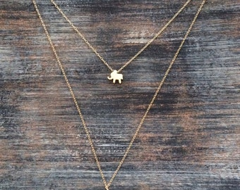 GOLD ELEPHANT NECKLACE // Small Charm Necklace - Boho - Layering necklace