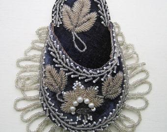 Victorian Beadwork - 2 Watch Holders + Matching Beaded Wall Pocket
