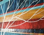 Midcentury inspired abstract knife painting original on 24x36 inch stretched canvas in turquoise, mustard, red, blue, with a highly t