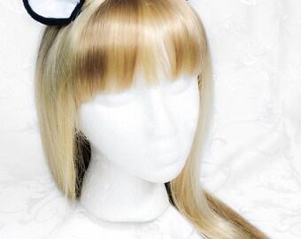 Anime Pony Kitty Fleece Clip on Ears - Black/White