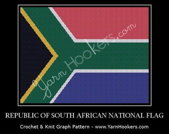 Republic of South Africa National Flag - Afghan Crochet Graph Pattern Chart - Instant Download
