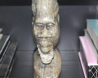 Antique Mid Century African Shona Carving, African Verdite Tribal Bust Tribal, African Bust, Tribal Decor, Antique Alchemy