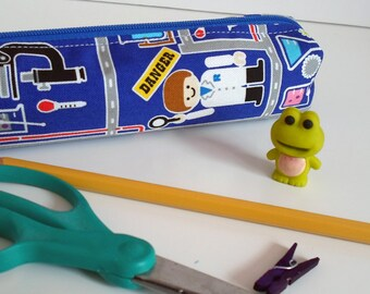 Pencil Case, Pencil Pouch, School Supply – Science Lab Japanese Fabric  - Toiletry & Cosmetics Bag