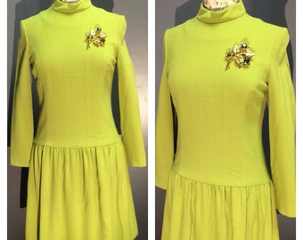 Rare CHARTREUSE Designer CHARLES COOPER Boutique Drop Waist 1960's Weighty Rayon Crepe Ultra Mod Scooter Mad Men Dress - Couture Lines Sm Md