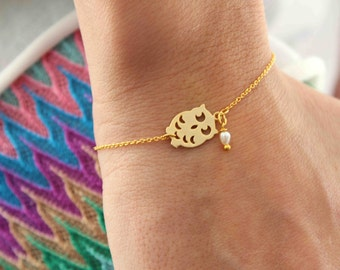 Owl Bracelet - Gold plated chain Bracelet - Pearl bracelet - Minimalist bracelet - Everyday Bracelet - Bridal Jewellery