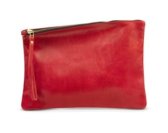 Red Clutch Purse, Leather Clutch Bag