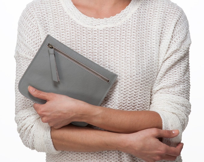Grey leather pouch, leather wallet, women leather pouch