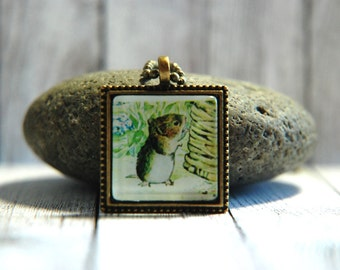 "1"" Square  Glass Pendant Necklace or Key Chain - Beatrix Potter - Timmy Willie"
