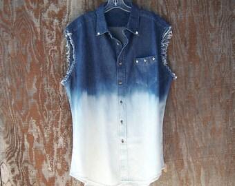 SALE Half Bleached Denim shirt studded denim shirt button up grunge shirt dip dye blue denim muscle shirt cut off sleeve unisex men xl
