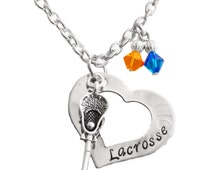 Custom, Hand Stamped, Lacrosse Necklace, Team Color,Swarovski Necklace, Lacrosse Mom, Lacrosse Jewelry, Lacrosse Mom,Coach, (Made to Order)