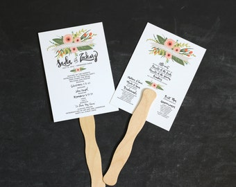 Wedding Program Fan - Printable Whimsical Floral Unique Design with Hand Lettered Modern Fonts - Custom Wedding Program with Wavy Fan Handle