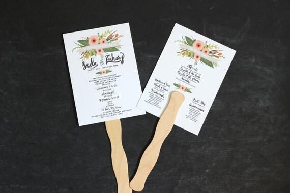 Wedding Program Fan - Printable Whimsical Floral Unique Design with Hand Lettered Modern Fonts - Custom Wedding Program with Wavy Fan Handle