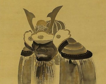 Antique Japanese Art Wall Hanging Scroll Painting Samurai Helmet mid Edo period Kakejiku -131124