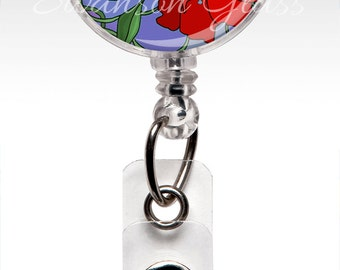 Accessories Lanyard ID Badge Holder, Cute Flower Badge Reel, Retractable Nurse Badge Holder, Stethoscope tag, Teacher, Red Flowers, RN 3031